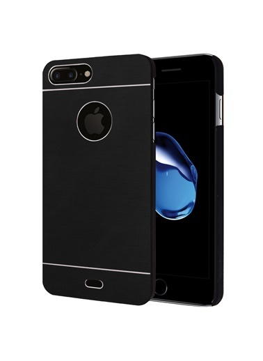 Microsonic iPhone 8 Plus Kılıf Hybrid Metal  Siyah